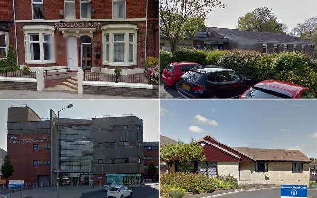 Four of the six surgeries — Spring Lane Surgery in Radcliffe, Tottington Medical Practice, Minden Family Practices in Bury and Greenmount Medical Centre. Photo Google Maps