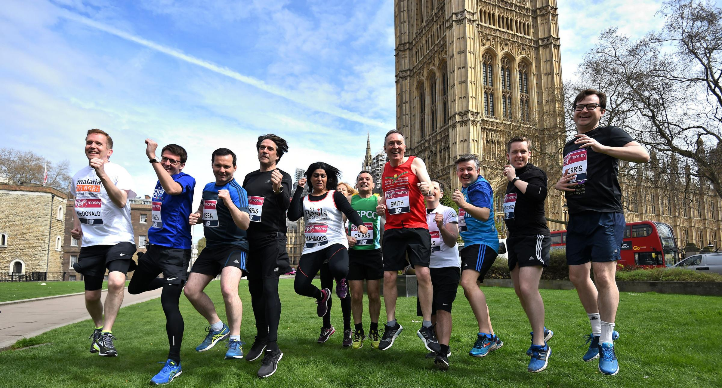 RUNNERS: Chris Green, third from left, with other MPS who are running in the Virgin Money London Marathon on Sunday: Kirsty O'Connor/PA Wire