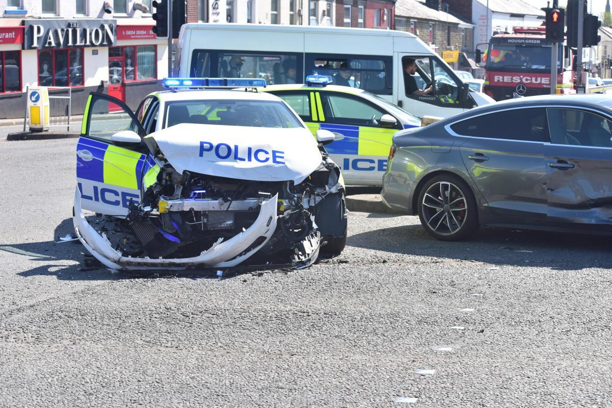 PICTURES/VIDEO: Police car damaged in Blackburn Road crash   The ...