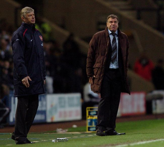 CONTRASTING STYLES: Then Wanderers manager Sam Allardyce, right, and Arsenal boss Arsene Wenger on the touchline at the Macron Stadium in 2006