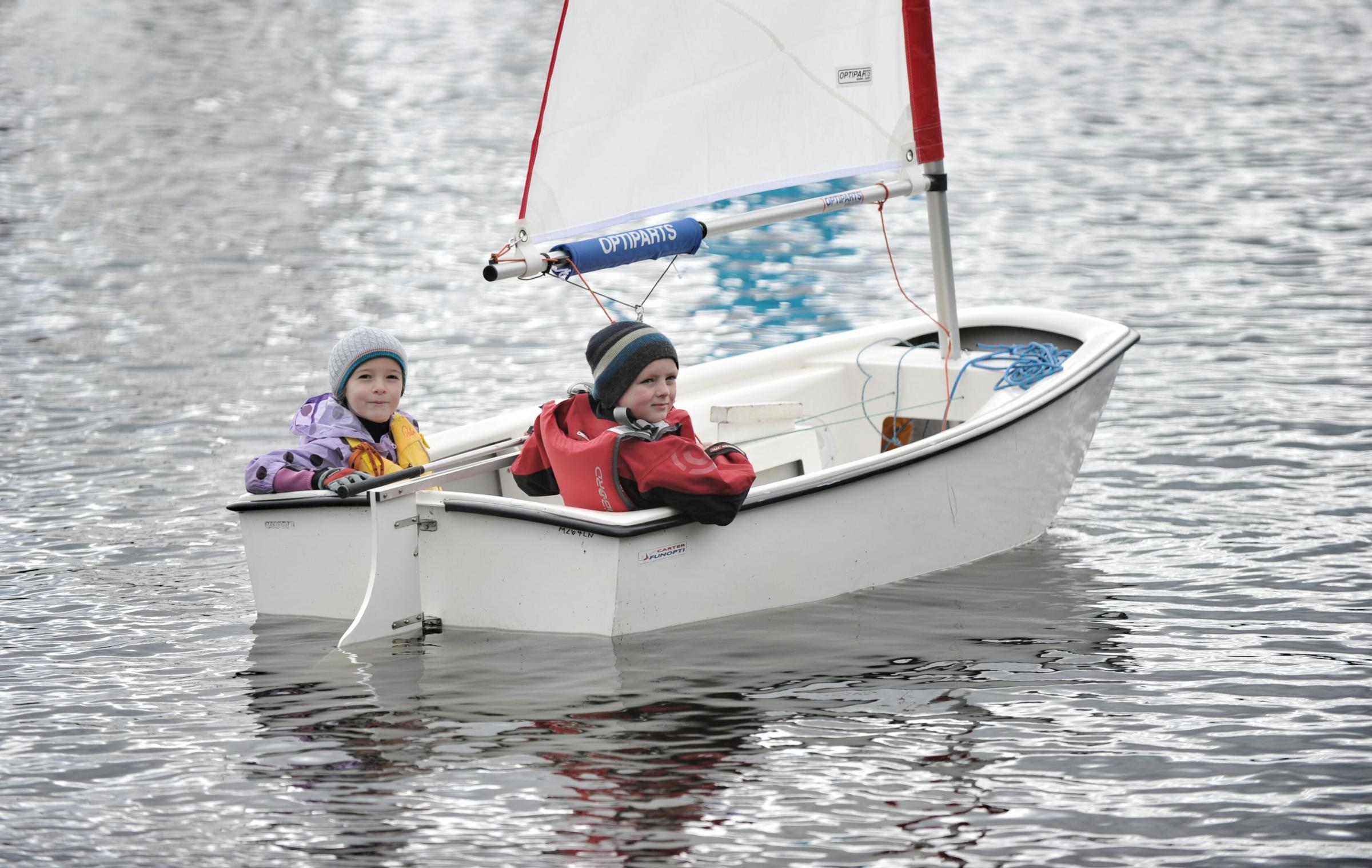 Harriet Wood and Daniel Cunningham, both 7, sail on their own at Jumbles Sailing Club's annual open day last year
