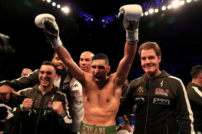 Amir Khan celebrates winning the Super-Welterweight Contest against Phil Lo Greco at the Echo Arena, Liverpool.