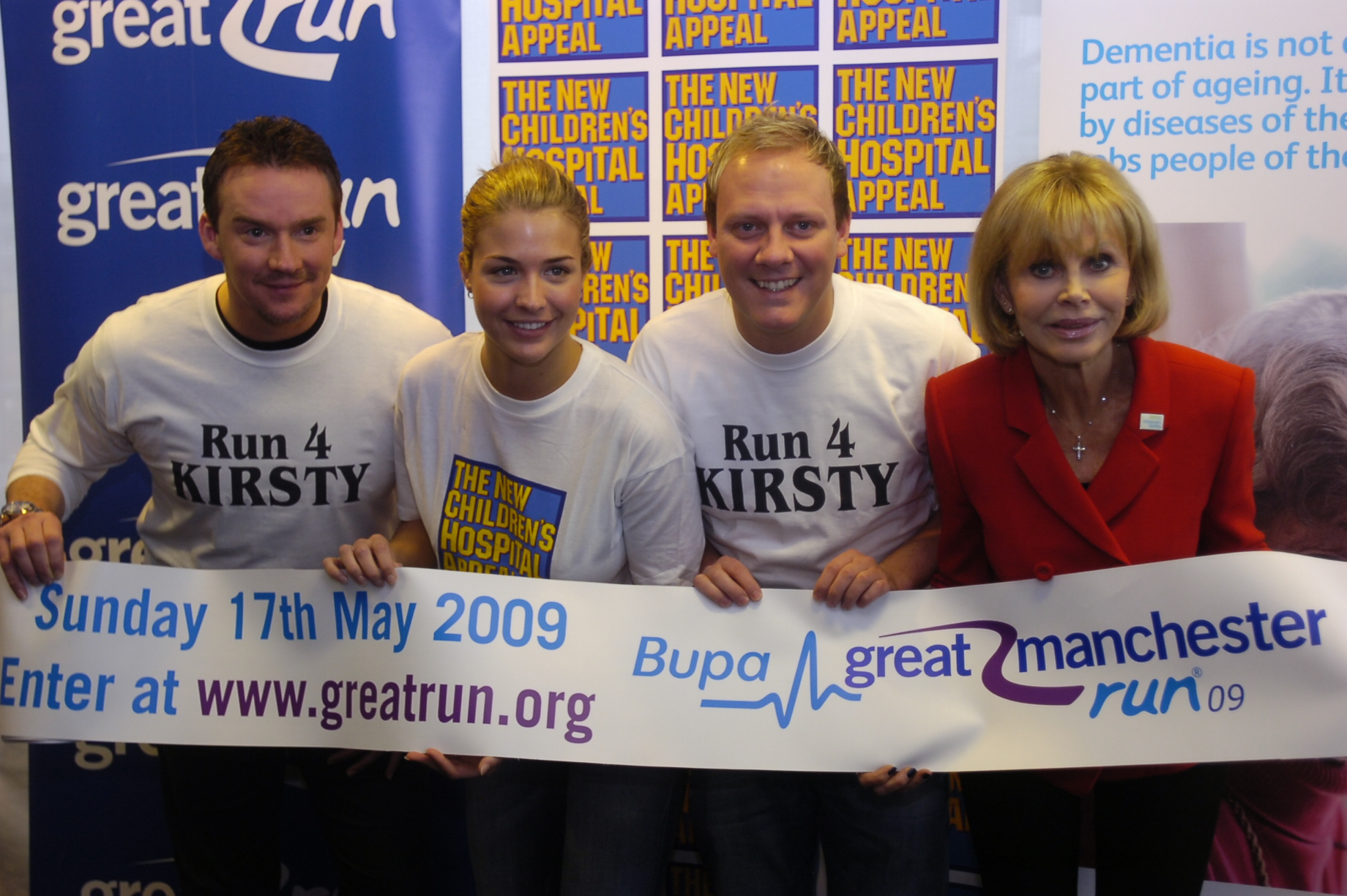 LAUNCH: From the left, Russell Watson, Gemma Atkinson, Anthony Cotton and Britt Ekland help launch the Great Manchester Run