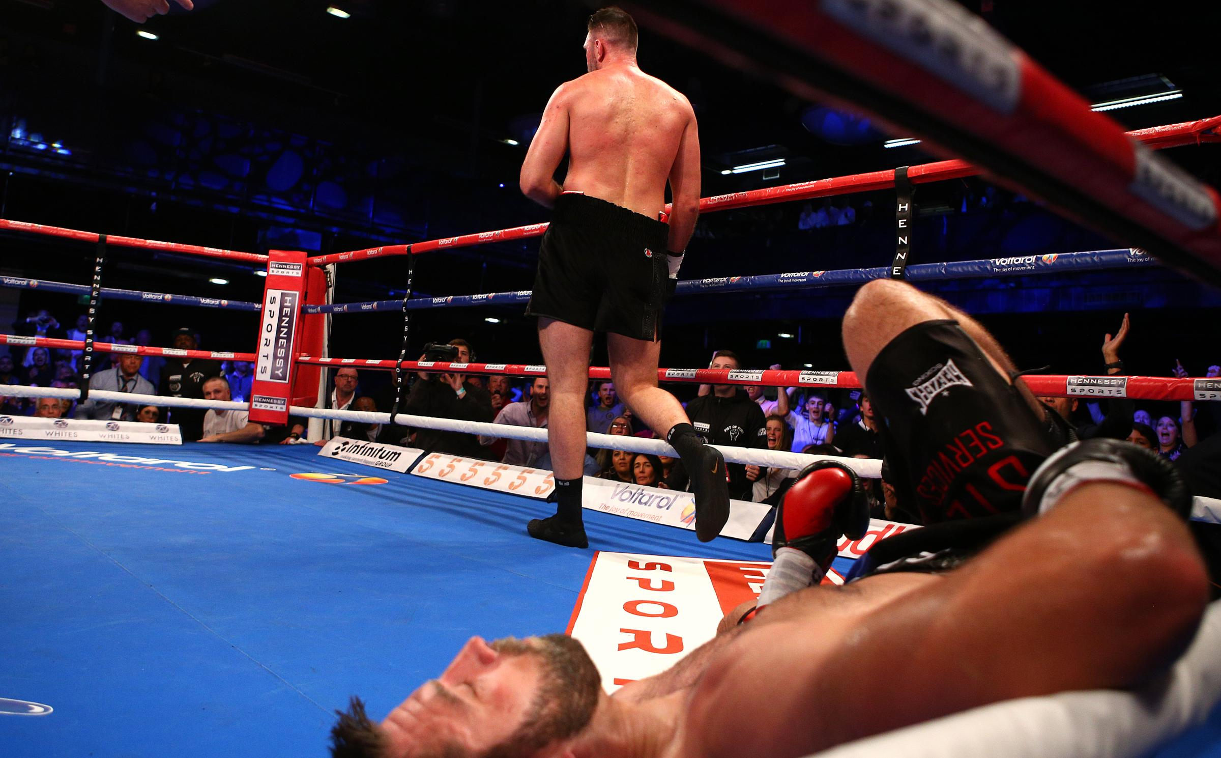 Hughie Fury walks away after flooring Sam Sexton in the fifth at the Macron