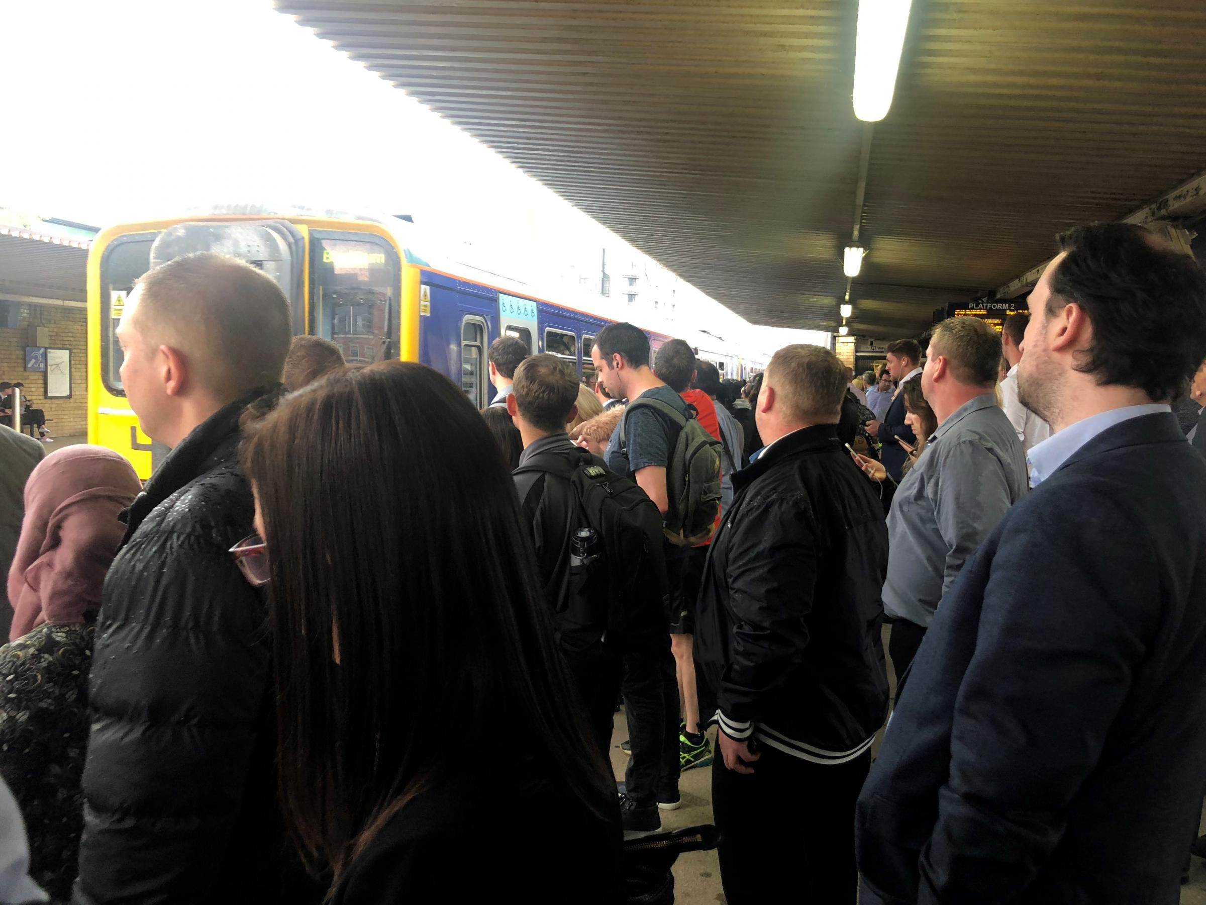PACKED: Commuters trying to board a Northern train following the timetable change