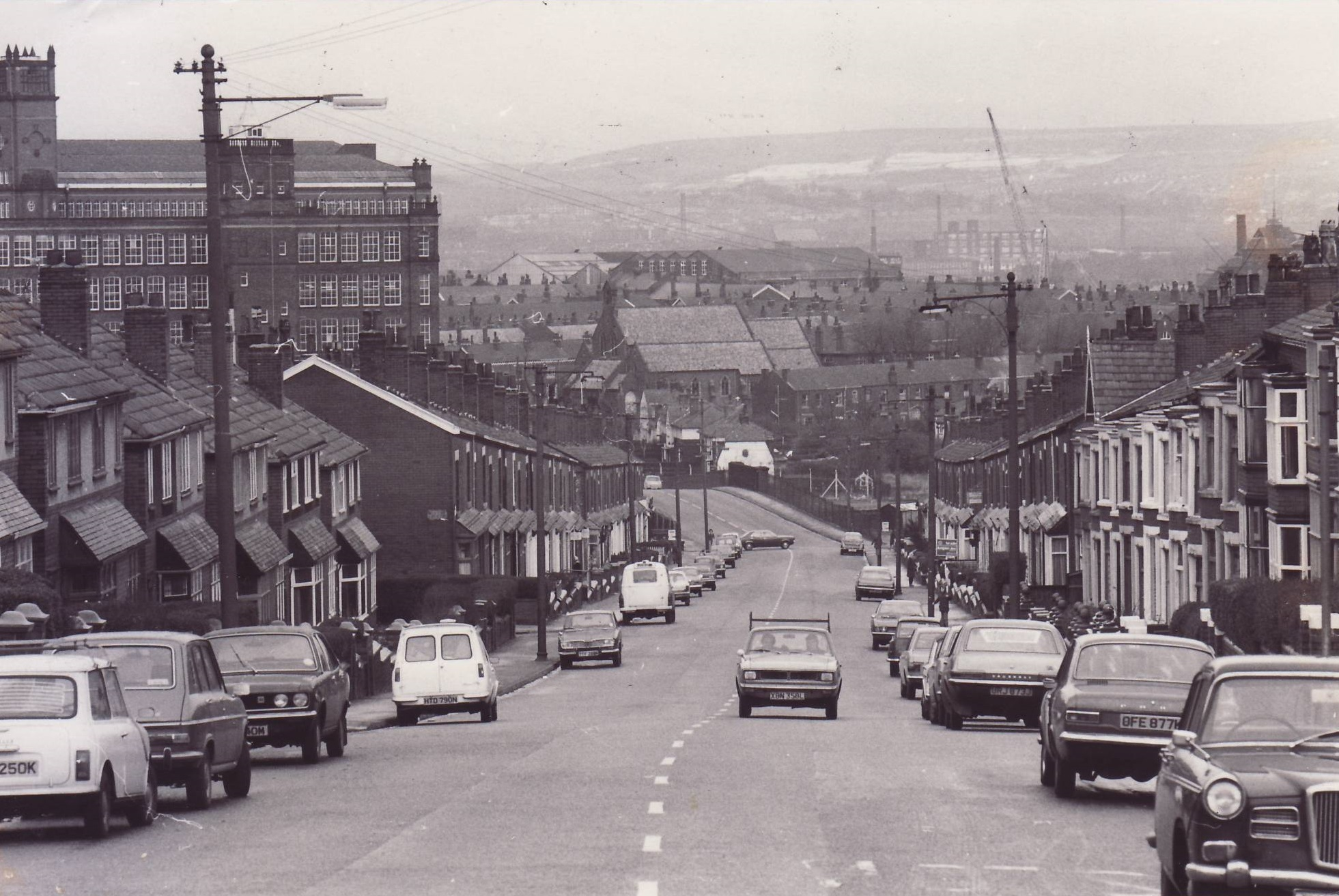 VIEW: A view down Higher Swan Lane from the junction of Lever Edge Lane in 1976.