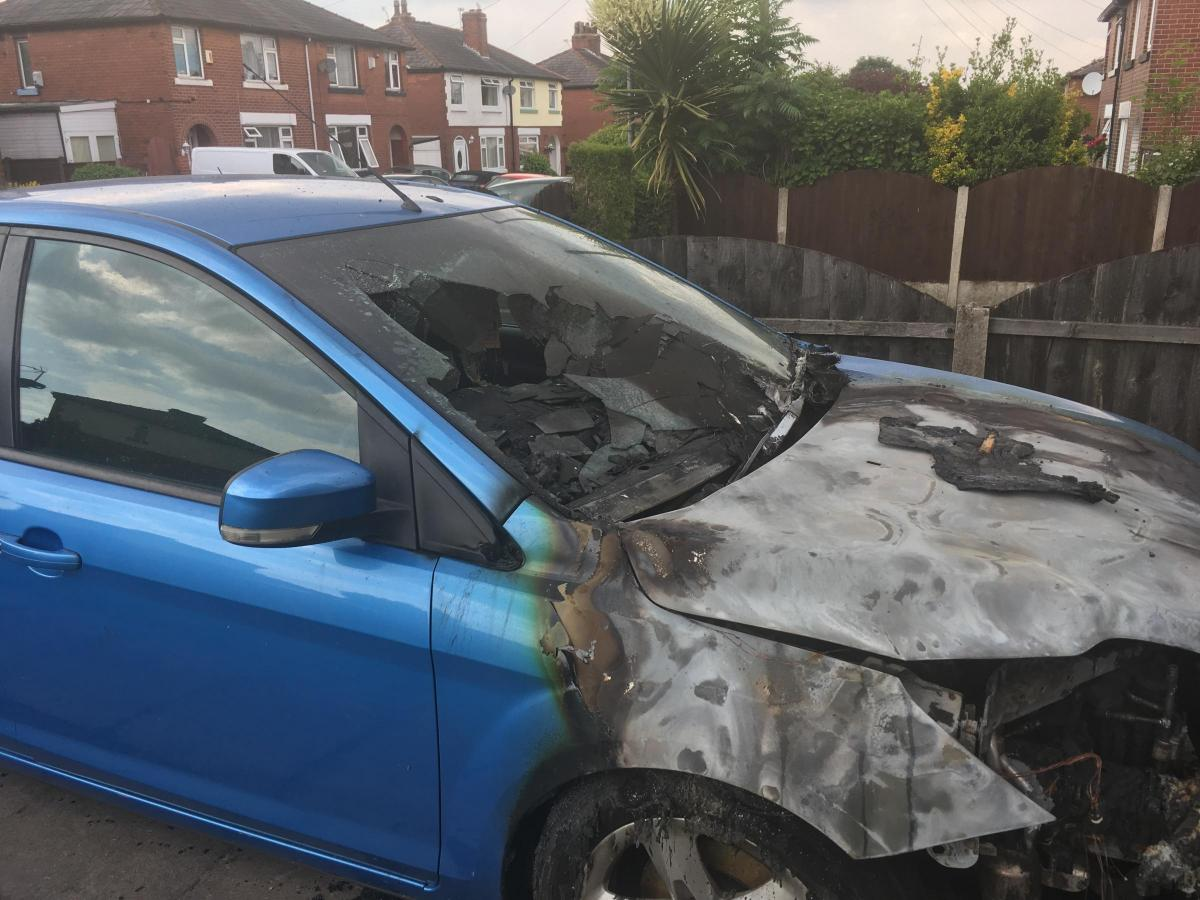 FIRE: Car destroyed in blaze in Daisy Avenue, Farnworth