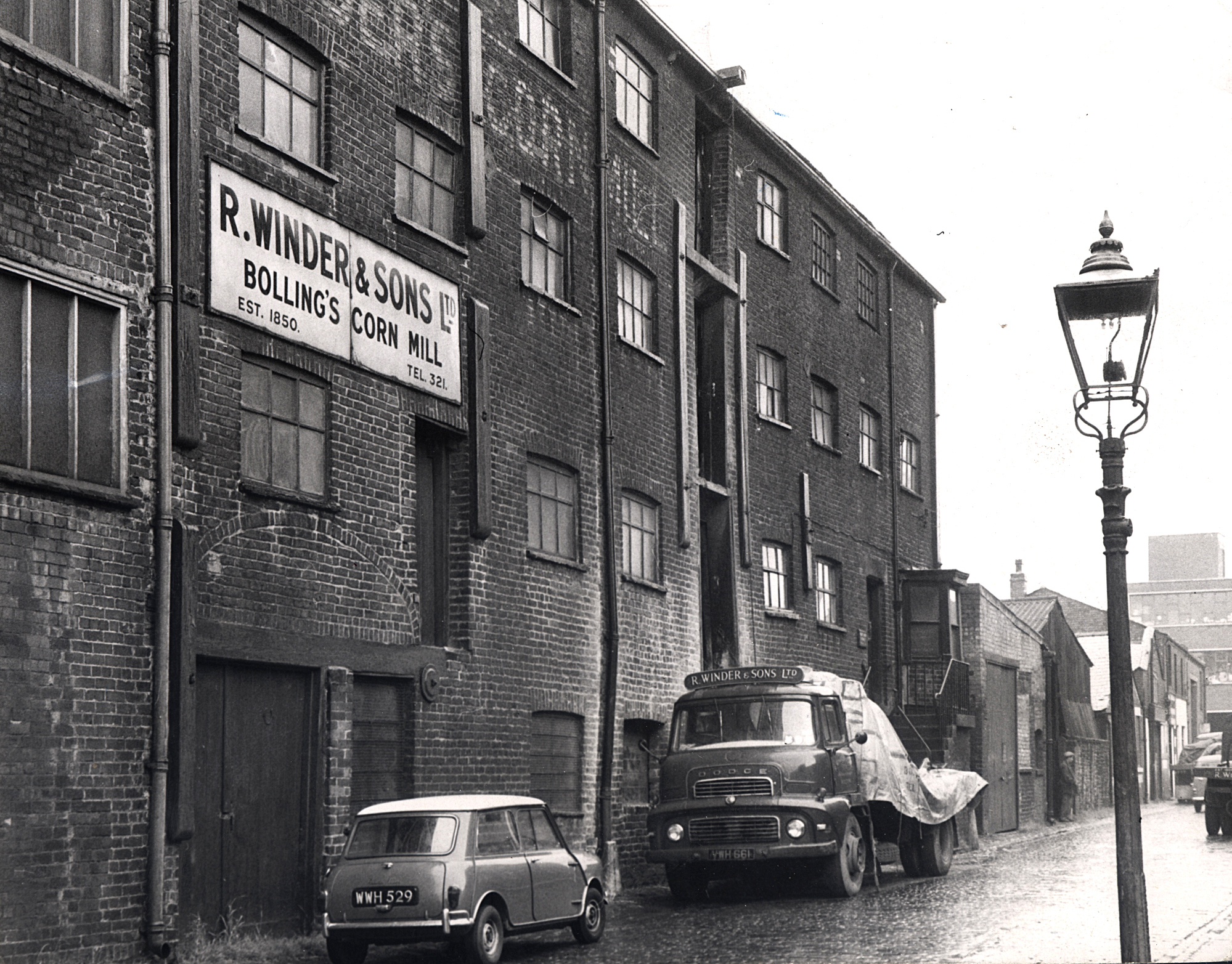 "Photo by Bolton Evening News..THIS picture of Bolling's Yard was taken in 1965. The paper reported: ""The cotton-spinning and corn-milling saga of Bolling's Yard, the Bradshawgate backwater which has been a part of Bolton's industrial and"