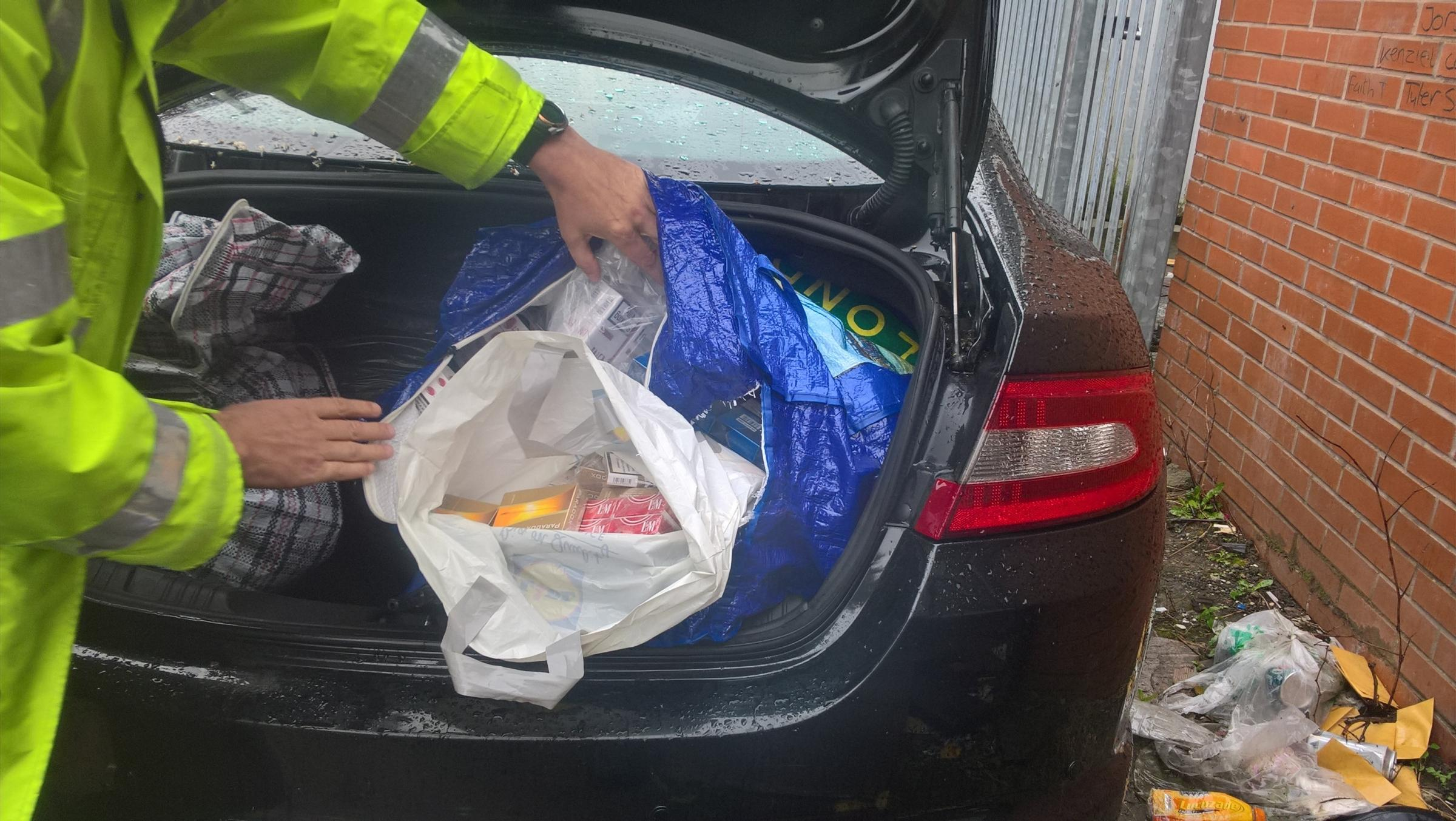 RAID: Illicit tobacco was discovered in the boot of a black Jaguar XS