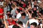 England fans in Hogarths, Bolton celebrating their 6-1 win over Panama in the World Cup, 2018.