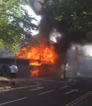 The coach fire in Bridgewater Road, Walkden