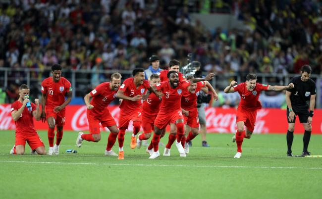 WE'VE DONE IT: England players celebrate winning the penalty shootout against Colombia in the last 16