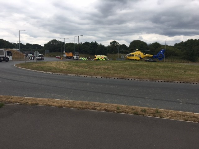 INCIDENT: A woman was knocked down by a HGV at the roundabout in Over Hulton