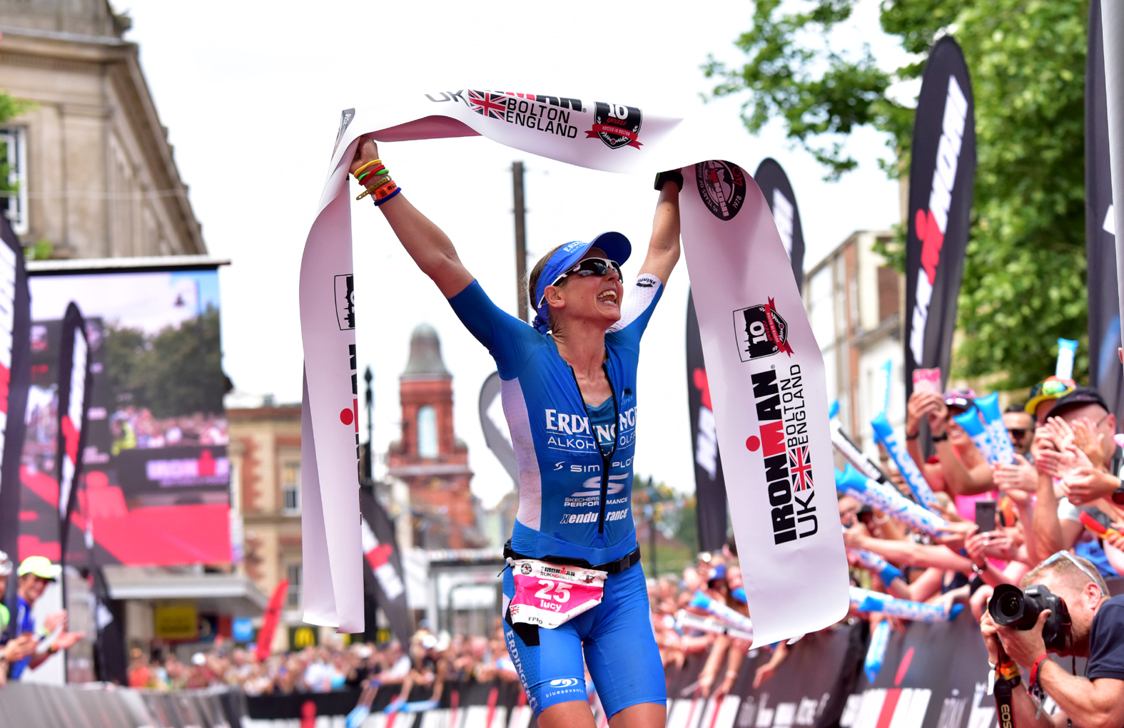 Lucy Gossage celebrates her win