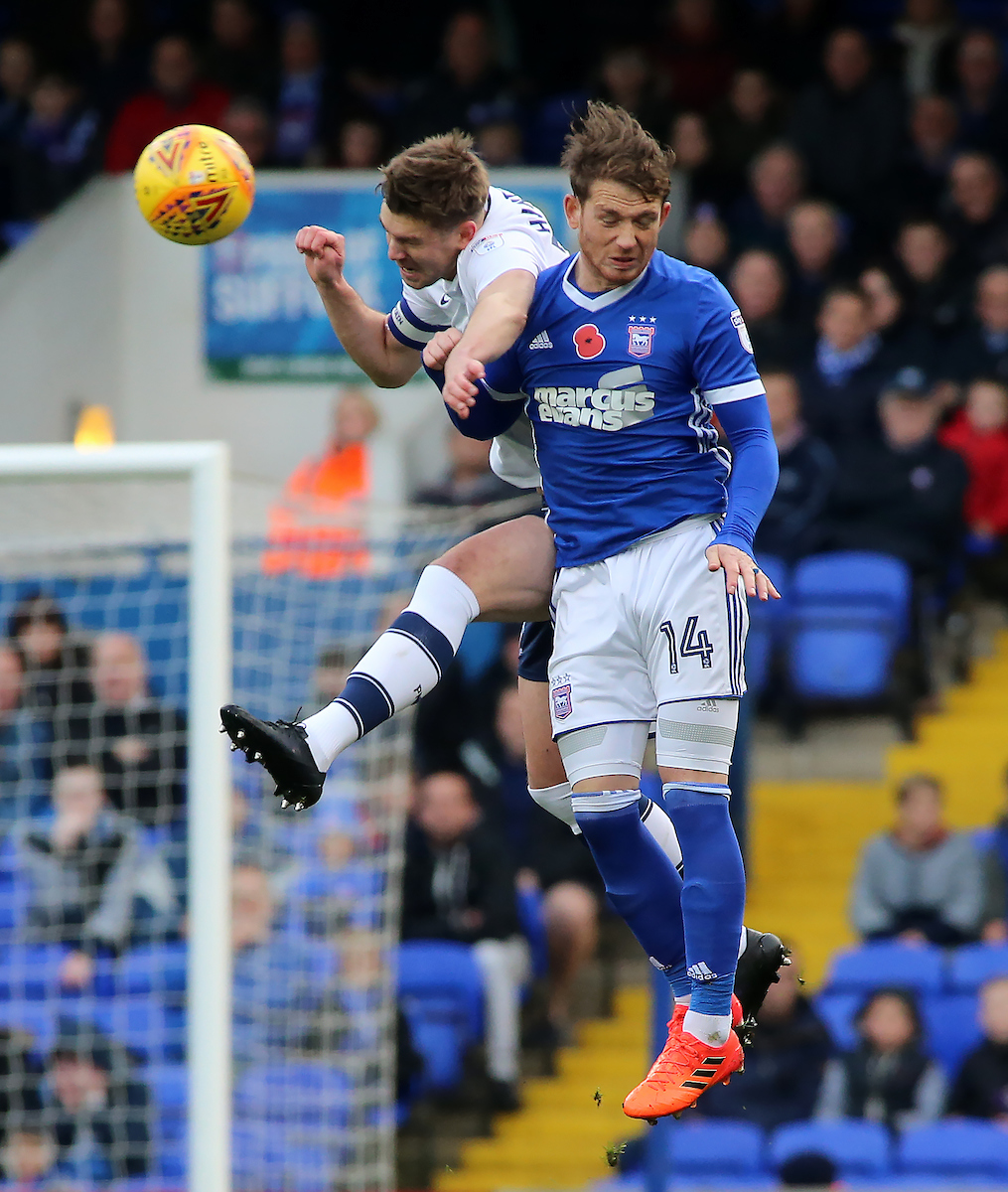 Joe Garner, right, in action for Ipswich against Preston last season