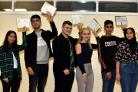Pupils from Sharples school celebrate their good GCSE grades.