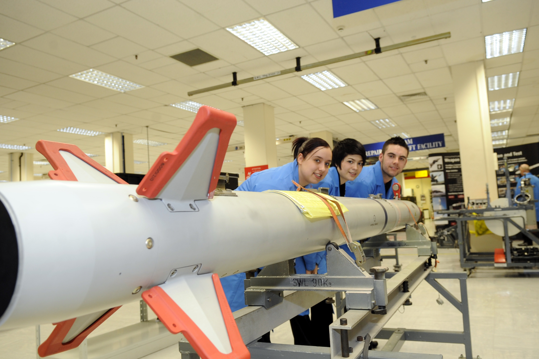 Apprentices with a missile at the MBDA site in Lostock