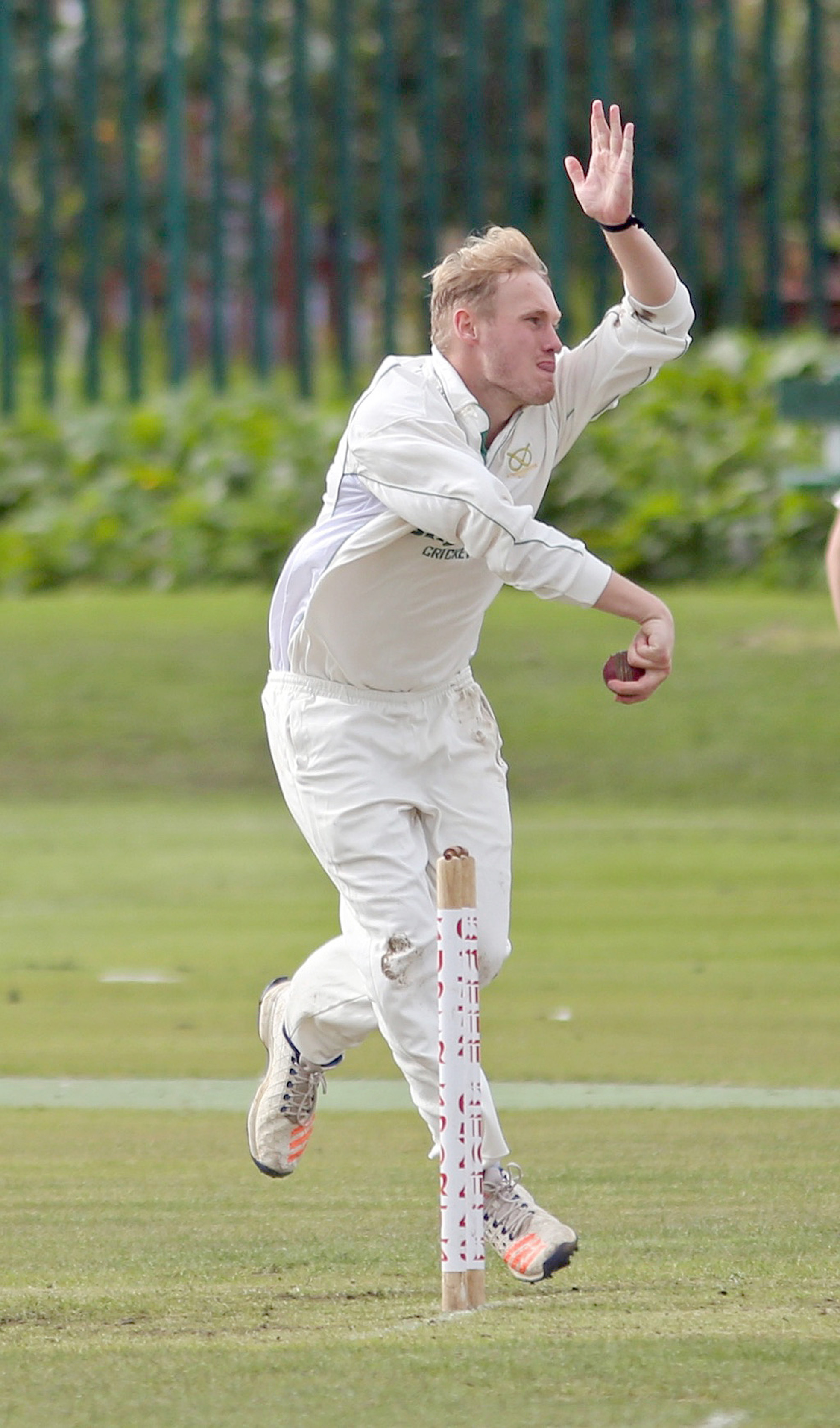 Heaton v Kearsley in the final of the Peter Stafford Trophy held at Farnworth Social Circle cricket Club    Photo: Matt Parkinson bowls for Heaton