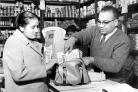 SHOPPING: Mr Bharti's Indian shop on Deane Road. Photo by Bolton Evening News, October 28 1965