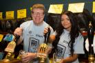 Clive Nightingale, organiser, and Kelly McFaden of BLGC pull pints of the festival brew 3 Lost Ladies brewed by Bank Top Brewery..Picture by Dominic Holden.