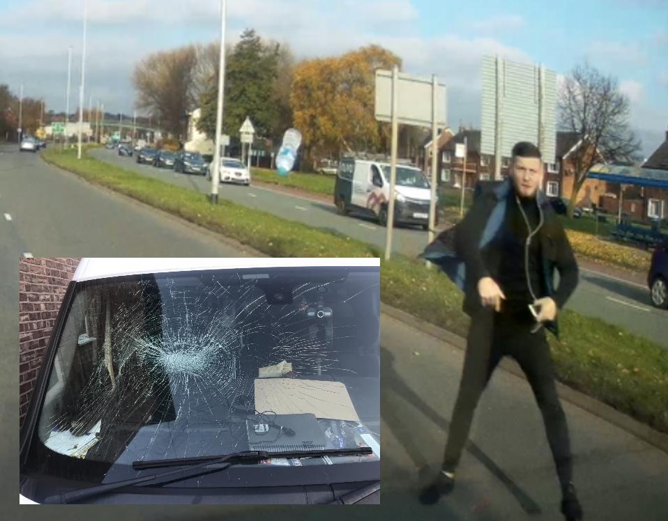 WATCH: Sale van driver has windscreen smashed by man throwing bottle