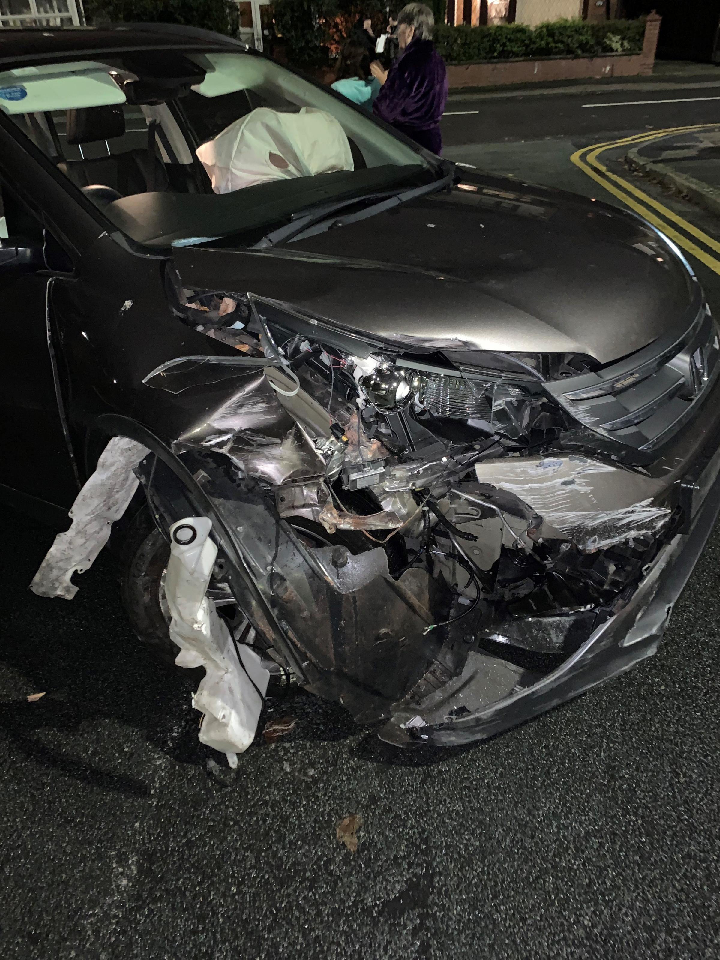 Thieves crash car after armed robbery at shop