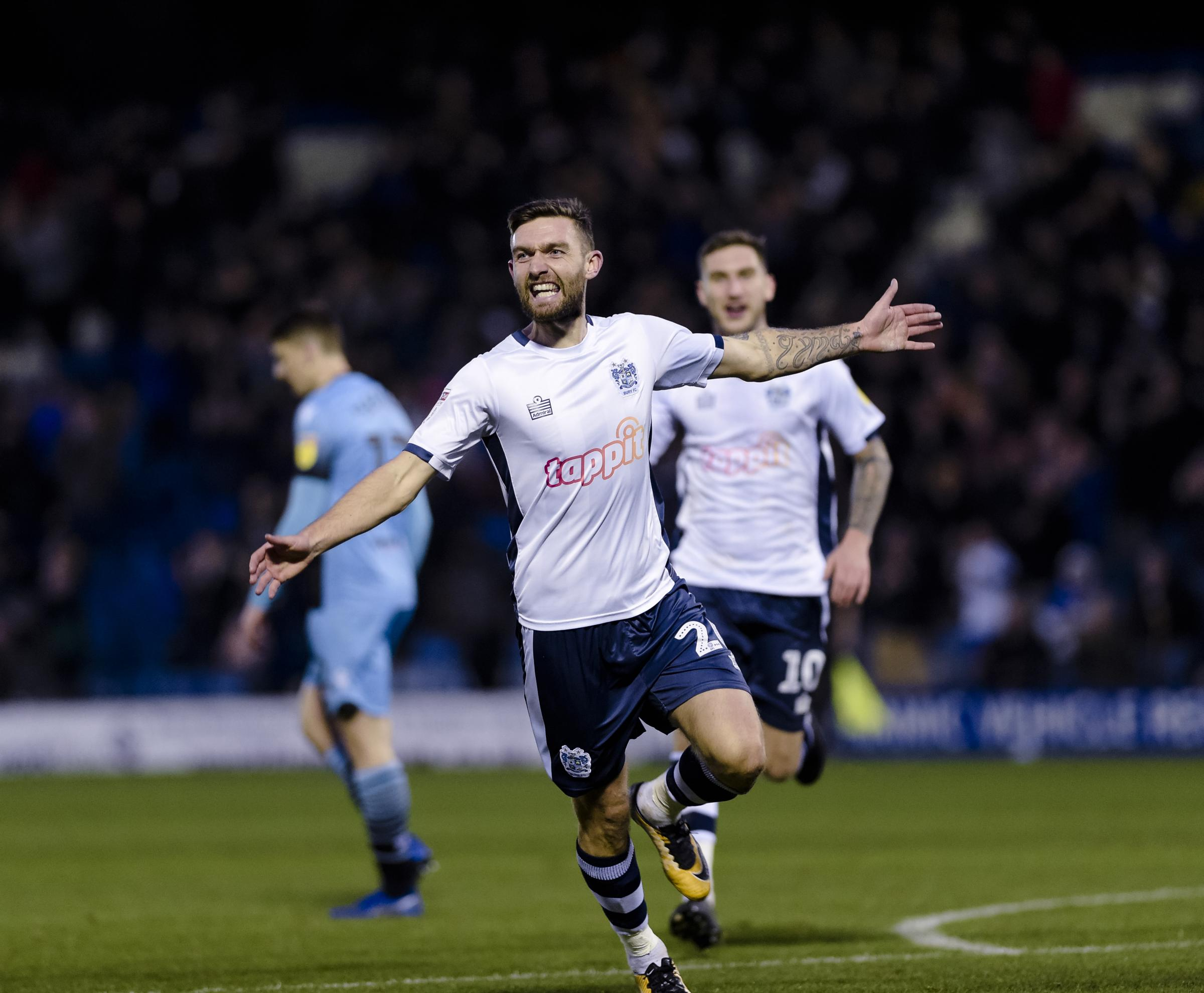 Bury midfielder Jay O'Shea celebrates after opening the scoring during the Sky Bet League 2 match between Bury FC and Stevenage FC at The Energy Check Stadium at Gigg Lane, Bury on Saturday 17th November 2018. Credit: Andy Whitehead..Self-billing appl