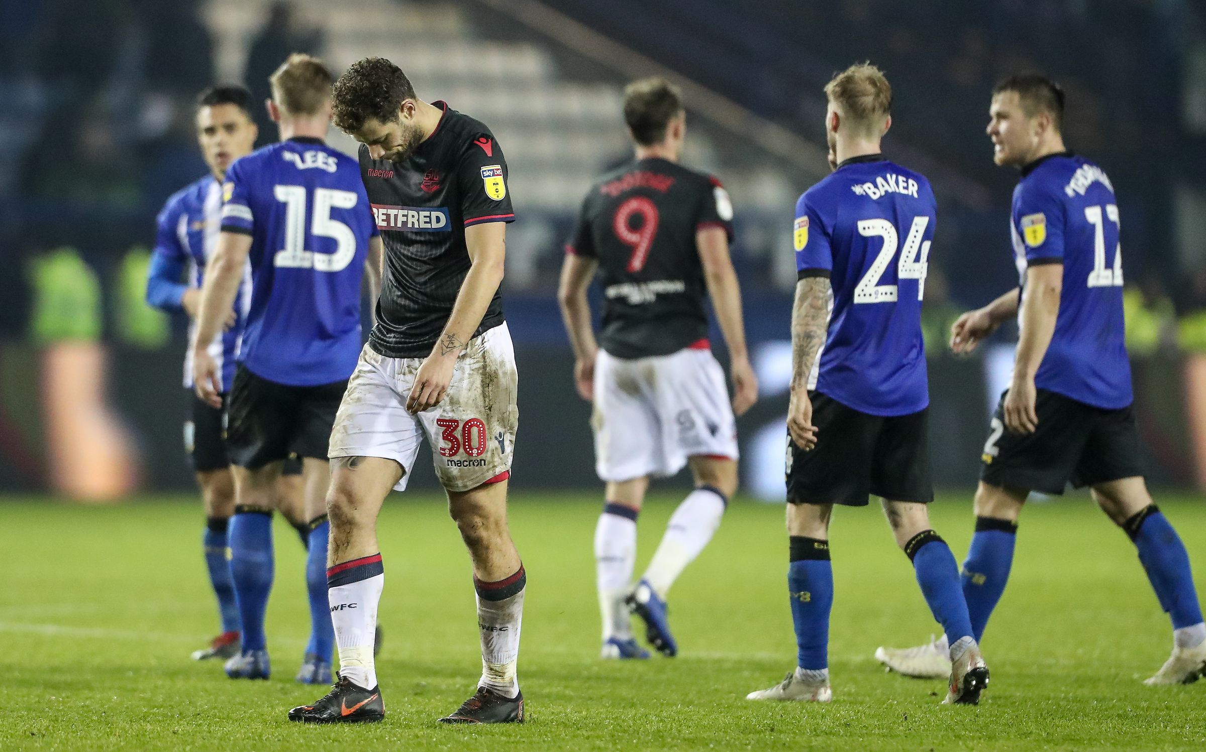 Yanic Wildschut shows his despair at the end of Wanderers' 1-0 defeat to Sheffield Wednesday