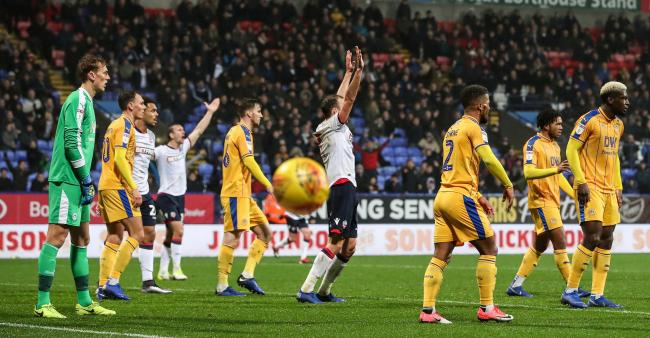 Wanderers players appeal for a late penalty in the 1-1 draw against Wigan