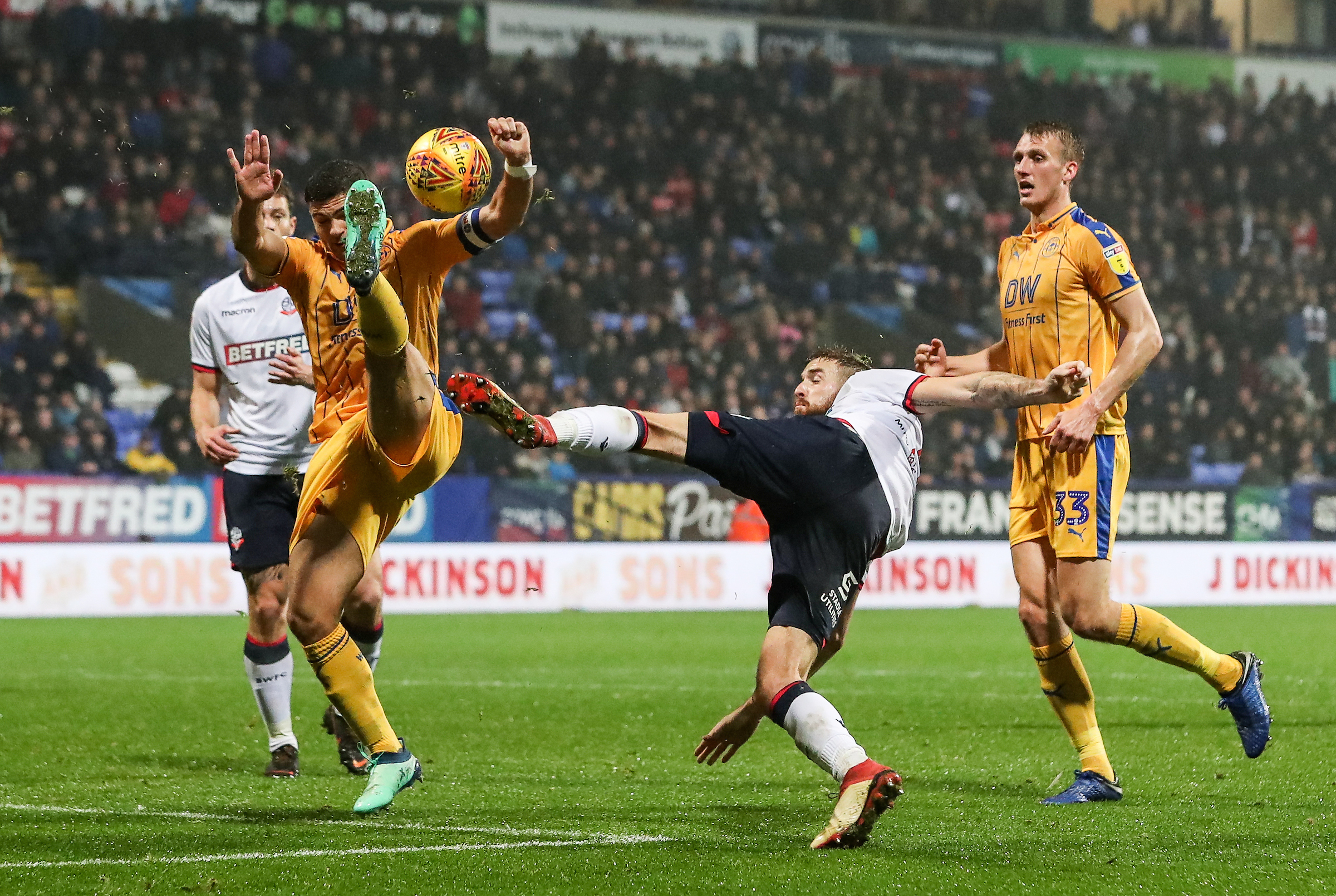 Wanderers appealed for a penalty after Mark Beevers' volley was blocked by Sam Morsy in the 1-1 draw with Wigan