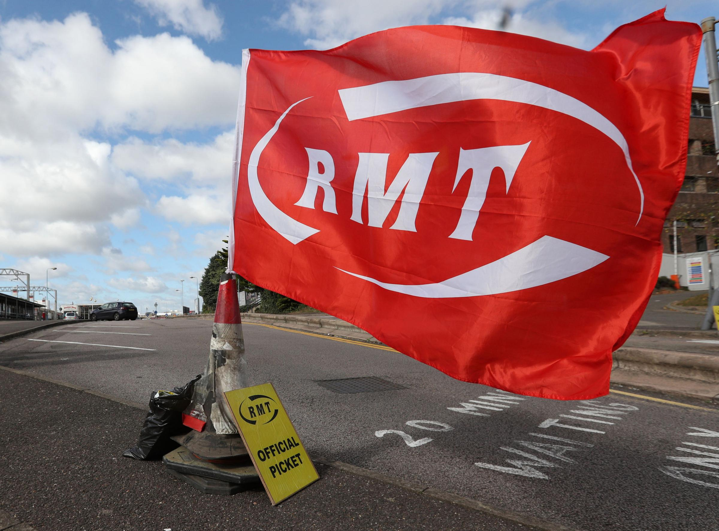 An RMT flag, as the Rail, Maritime and Transport union (RMT) has said walkouts on Arriva Rail North (Northern) will now go ahead on every Saturday until the end of the year. Picture: PA Wire