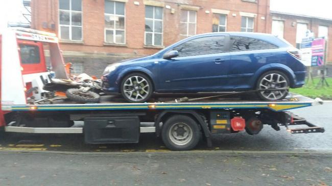 An off-road motorbiker and car seized by police on Brownlow Way, Halliwell