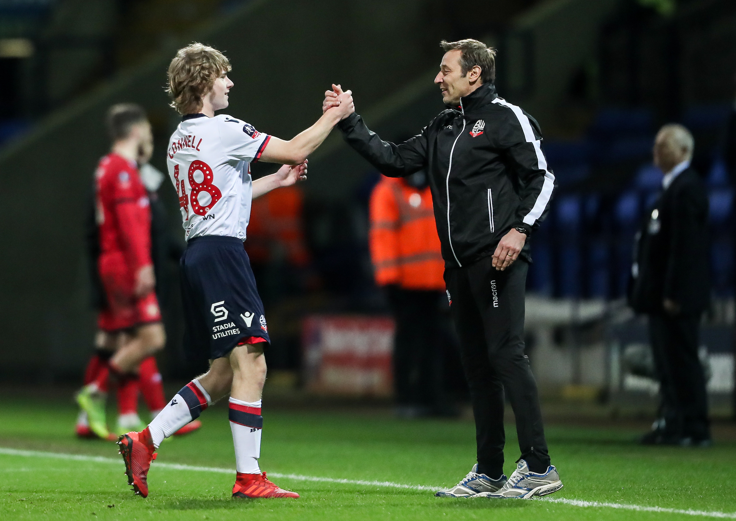 Luca Connell comes off the pitch after making his Bolton Wanderers debut against Walsall in the FA Cup