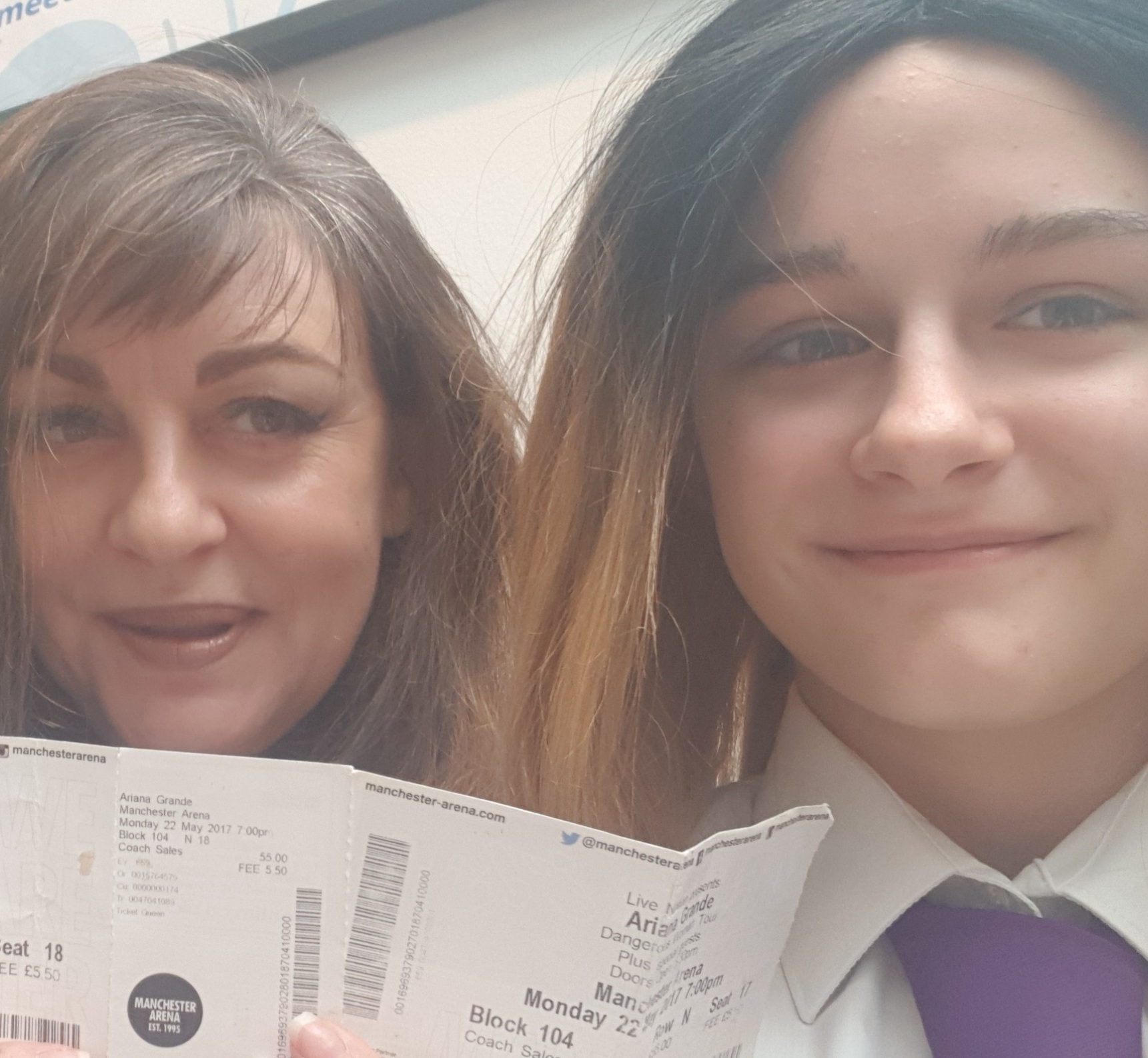 PLEA: Alison Manzi, left, with her daughter Hollyann Mitchell, aged 12. They both attended the Ariana Grande concert which was targeted in May 2017