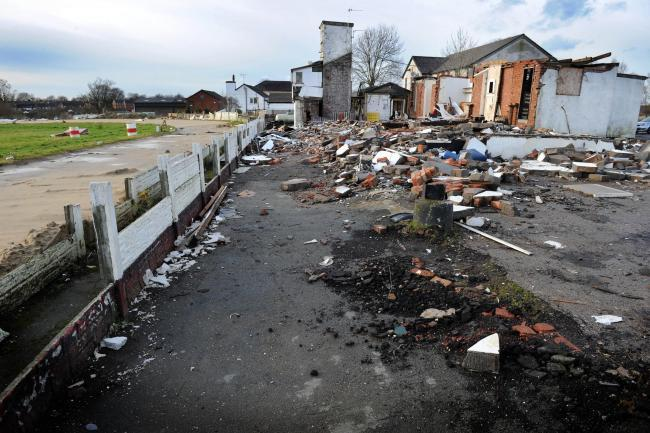 GONE: Scenes of demolition at the Westhoughton greyhound stadium in 2014