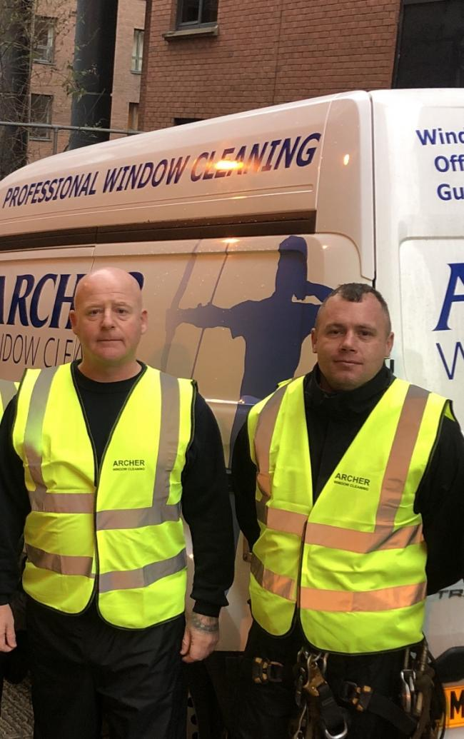 HEROIC: Window cleaners Chris Oakes and John Stephens