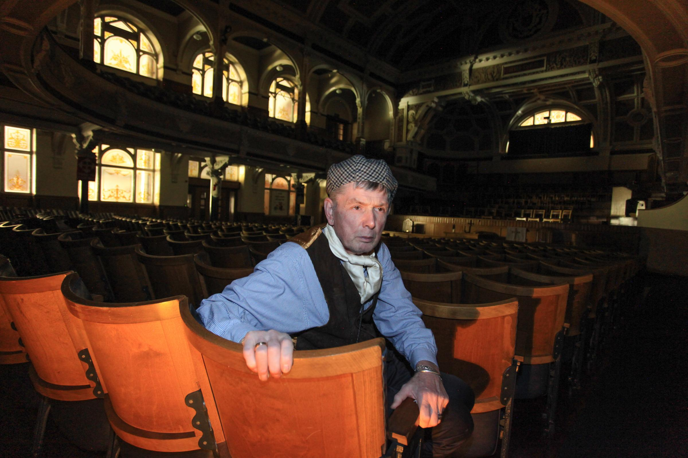4 February 2019. Bolton, Lanacashire. Bolton Methodist Victoria Hall. Barry Massey, who leads the 'Night Time Heritage Tours' during witer evenings through the labyrinthine maze of passages and hidden rooms in theunderground passageways below the