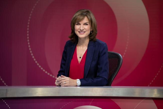 For use in UK, Ireland or Benelux countries only ..Undated BBC handout photo of Fiona Bruce on the set of Question Time. Shadow home secretary Diane Abbott has hit out at her treatment on BBC's Question Time at the hands of the new presenter. PRESS AS