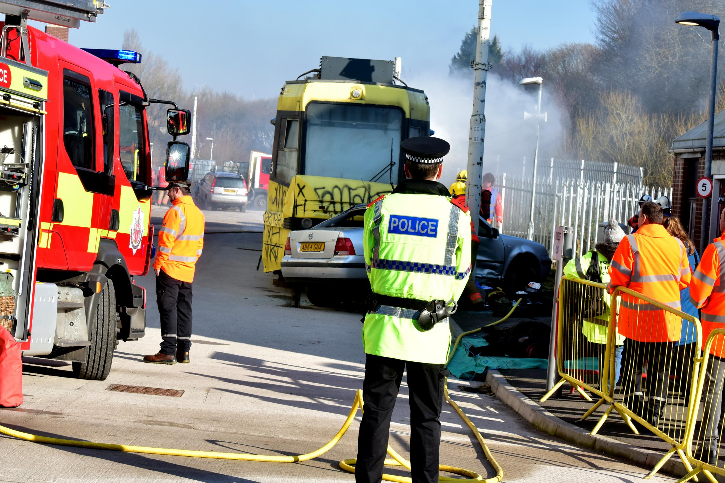 Terror on the trams as emergency services respond in live training exercise