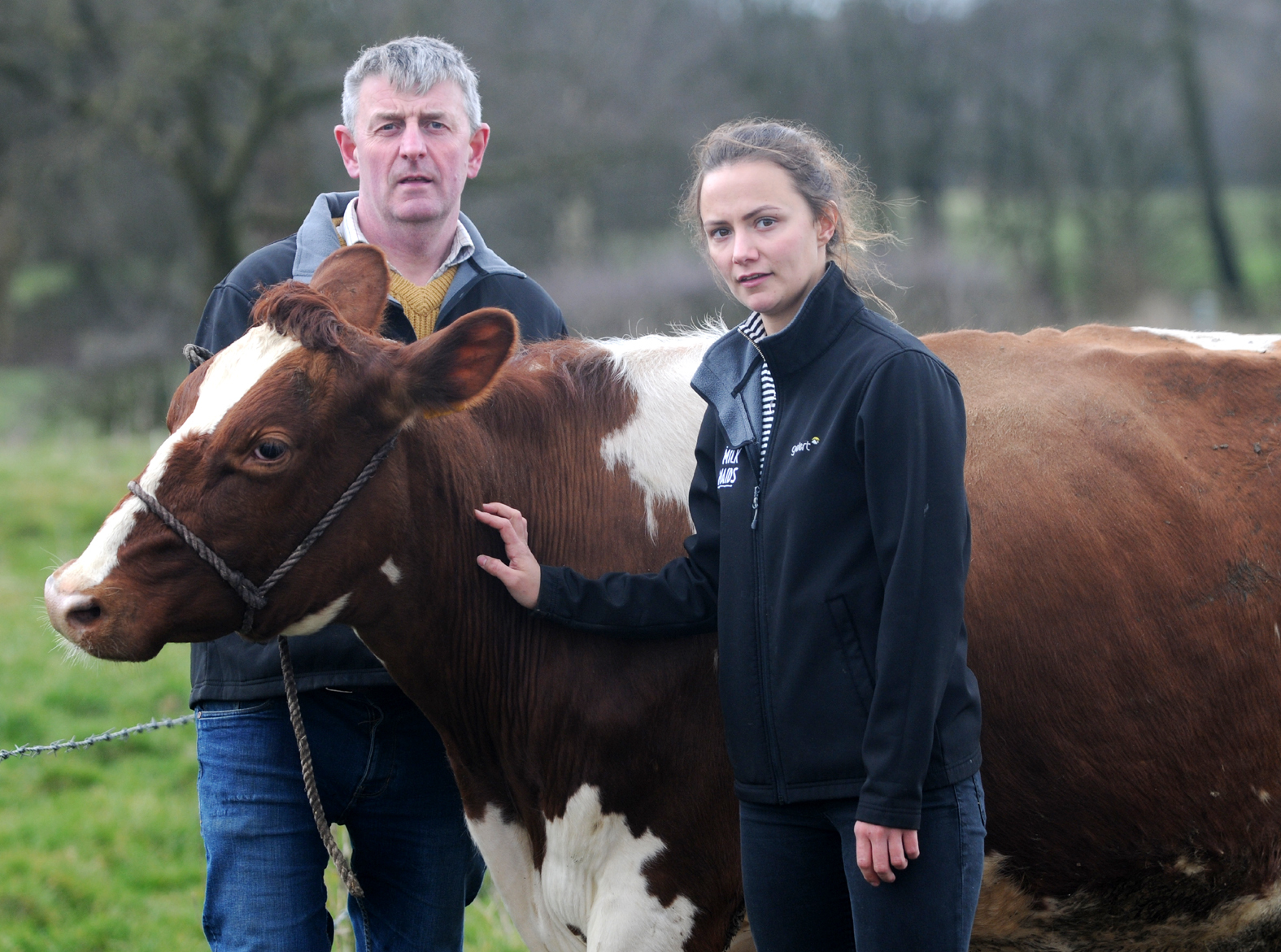 Michael Partington with his daughter Fiona at Dearden's Farm, Over Hulton which will have to close if the Hulton Park development goes ahead