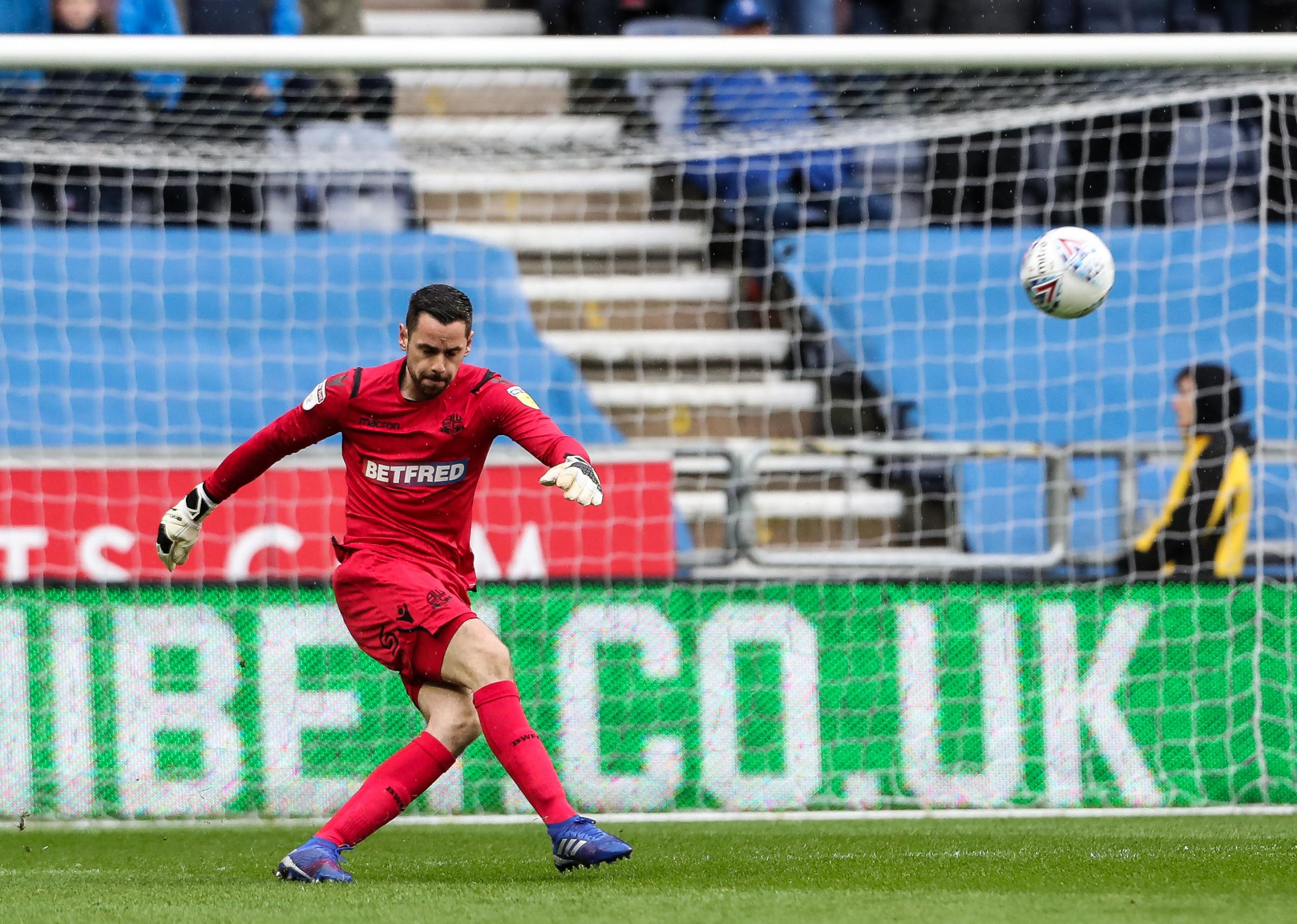 HOWLER: Wanderers goalkeeper Remi Matthews had a horror moment to gift Wigan their third goal on Saturday