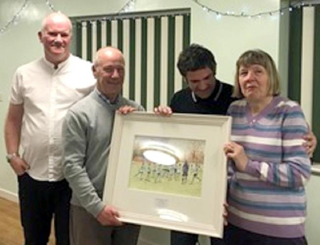 PRESENTATION: Tom and Lesley Allon either side of the painting of Scholes Bank, with new Horwich St Mary's secretary Russell Walmsley, left, and new chairman Danny Barry