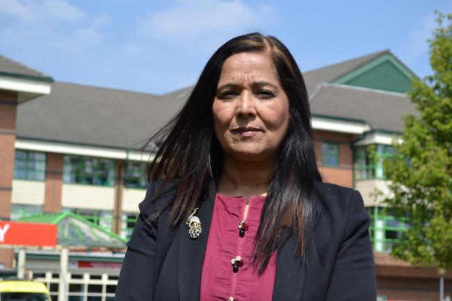 MP Yasmin Qureshi outside the Royal Bolton Hospital