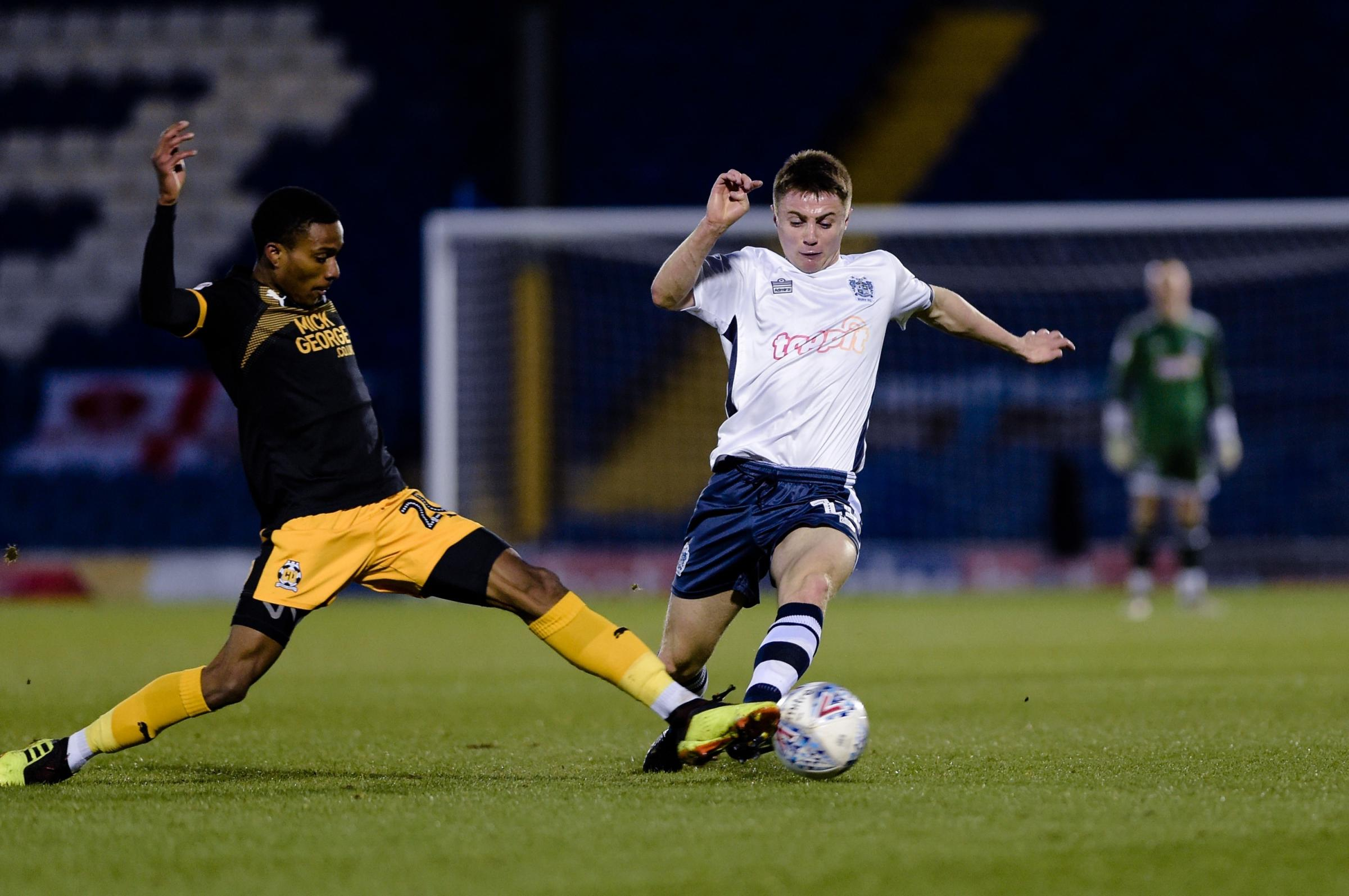 Jordan Rossiter in action during Bury's defeat at home to Cambridge. Picture by Andy Whitehead Photography