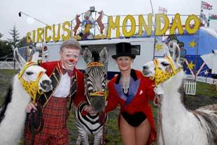 Controversy: Gareth Ellis and Petra Jackson from Circus Mondao with some of the animals from the show