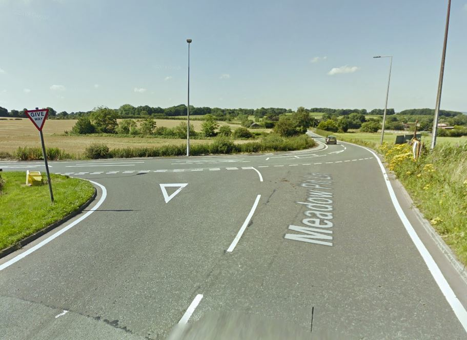 Meadow Pit Lane has been closed at the junction with Riley Lane. Picture, Google Maps