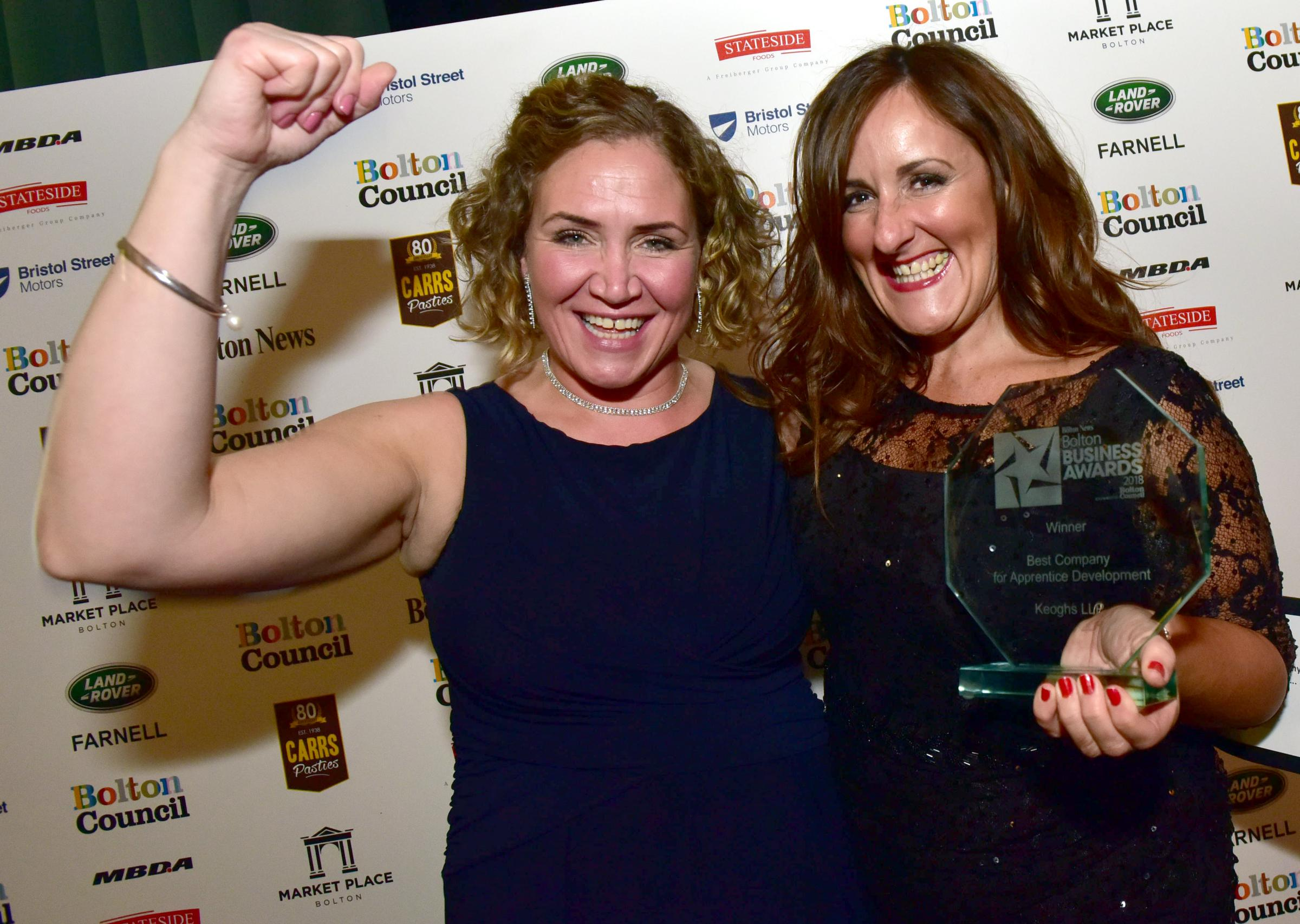 TRIUMPHANT: Rachel Mitchell-Denson and Jo Wright of Keoghs with their Best Company for Apprentice Development award at Bolton Business Awards 2018