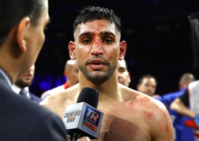 Amir Khan speaks post-fight. Picture: Mikey Williams/Top Rank