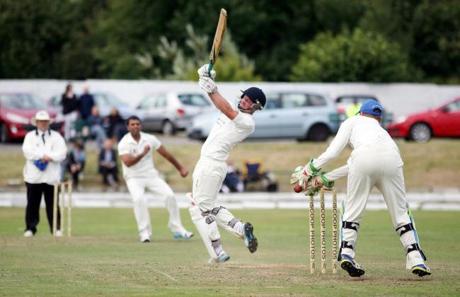 Heaton v Little Lever in the Hamer Cup final held at Tonge Cricket Club.....Photo: little Lever captain Josh Gent escapes a stumping.....3rd August 2014....Photo: Gary Taylor..Tel: 07762 756577.....
