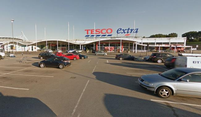 PURSUIT: Tesco at Middlebrook where a dangerous driver tried to hide
